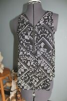 Women's Maurices Black/White Zip Front Sleeveless Top Size XS