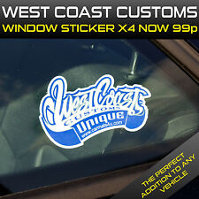 WESTCOAST CUSTOMS Car Van Lorry Truck Window Sticker Vinyl Decal X 4