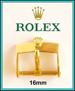 Vintage Men's ROLEX 16mm Yellow Gold Plaque Buckle for a 18 / 20mm band