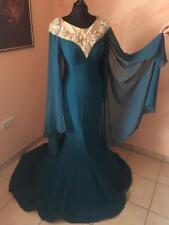 050e818fec5ed2 türkischesVerlobungskleid Mermaid Ballkleid Abendkleid petrol 36 S türkis  Strass