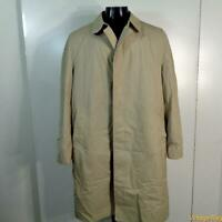 LONDON FOG Clipper Mist Vtg RAINCOAT Rain Trench Coat 42L 42 Long Beige