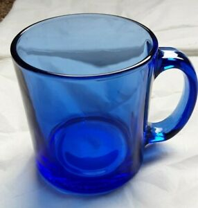 Large Lt. Cobalt Blue Glass Mug - Made in U.S.A.