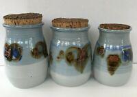 Studio Art Pottery Kitchen Canister Cookie Jar Set Cork Lidded Hand Thrown