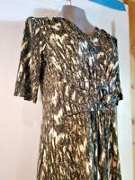NINA LEONARD Black Cream Abstract Short Sleeve Dress Sz Small FREE SHIPPING!