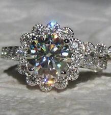 Engagement Ring Set 14K White Gold 3.45 Ct Round Cut White Moissanite Halo