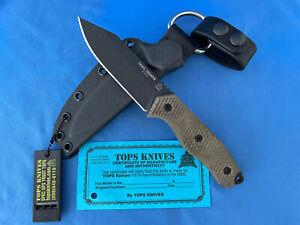 TOPS Trail Seeker Knife Green Canvas Micarta 1095 Carbon Steel Kydex Sheath USA