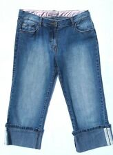 Easy Women's Cropped Denim Jeans Size 12 Distressed Wash Turn Up Hems Holiday