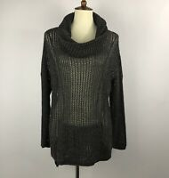 Oddy Womens Tunic Size S Dark Green Pockets  Cowl Neck Oversized Open Knitted