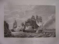 Grande gravure Combat Le Romulus contre 3 vaisseaux anglais le 13 février 1814