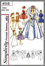 Barbie Doll  Bridal Gown & Trousseau For Teen Dolls Fabric Sewing Pattern # 4510