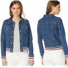 NWT Levis Red White Blue Stripe Denim Jean Jacket Small S