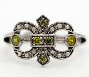 1CT Peridot & Seed Pearl 925 Sterling Silver Fleur-De-Lis Ring Jewelry Sz 8 FS3