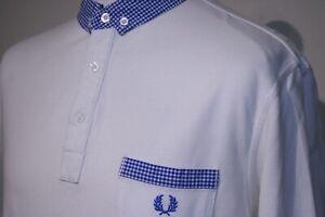 Fred Perry Gingham Trim Polo Shirt - XXL/2XL - White/Royal Blue - Mod Casual Top