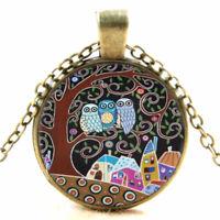 Vintage Bronze Eule Owl Glas Cabochon Anhänger Charm Halskette Modeschmuck