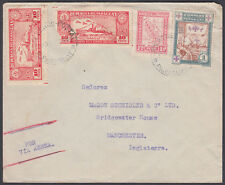 1933 Paraguay Airmail to Manchester, England; Multi-franking