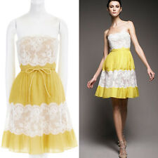 VALENTINO white floral lace yellow knife pleated silk cocktail dress US8 M