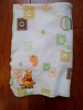 Winnie the Pooh Baby Blanket ABC's  Blocks Bee duck Lovey Green Yellow Orange