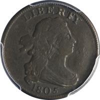 1805 Half Cent Small 5, Stems PCGS Nice F+ Details C-3 R.5 Nice Strike