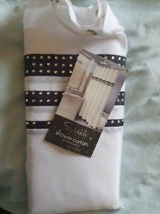 Sparkle Collection Diamonte Shower Curtain White Black Stripes 180cm x 180cm New
