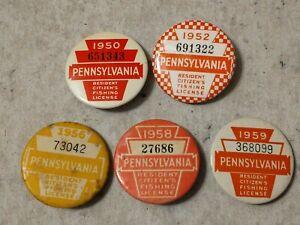 Five Pennsylvania Resident Citizen's Fishing Licenses: 1950,1952,1956,1958,1959