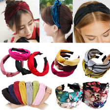 Vintage Wide Boho Floral Plain Twist Knot Headband Hairband Alice Hair Band