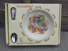 Royal Doulton Bunnykins, Baby plate and feeding spoon with original box 1st qual