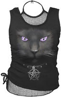 Spiral Direct BLACK CAT 2in1 MeshVest Top/Gothic/Biker/Mystical Black Cat/Tshirt