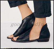 Vintage Womens Leather Open Toe Flats Sandals Roman Casual Slip On Shoes BLACK 8