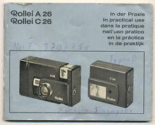 Rollei A26 e Rollei C26 libretto di istruzioni in 6 lingue 1974 E222