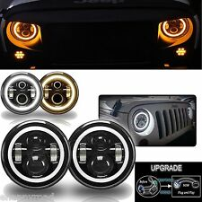 "Pair 7"" Round Angel Eyes Cree Led HALO Headlight For Jeep Wrangler JK/TJ/LJ/CJ"