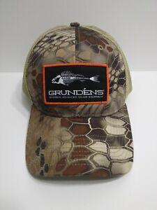 GRUNDENS Brown Camo Fishing Boat Hiking Baseball Hat Cap Trucker Mesh Snapback