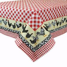 """Classic Red White Gingham Check Cotton 60"""" x 84"""" Tablecloth with CHICKENS Border"""