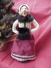 1987 Byers Carolers Victorian Woman Red Dress w Black Collar& Muff Perfect by65