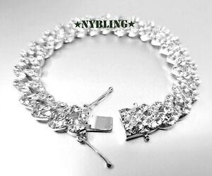"Miami Cuban Bracelet w Diamond (Simulated) Mens Hip Hop Jewelry 7.5"" to 9.5"""