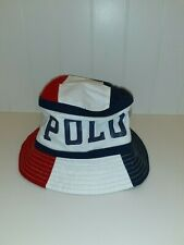 "NWT Polo Ralph Lauren ""Color-Blocked Polo Spellout Bucket Hat In Red/Wht/Blue"