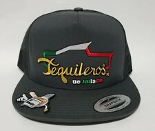 TEQUILEROS DE JALISCO   HAT DARK GREY MESH TRUCKER  SNAP BACK ADJUSTABLE  NEW
