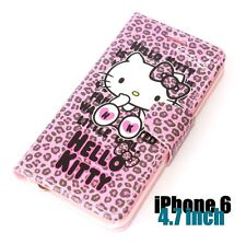 For iPhone 6 / 6S - HELLO KITTY LEATHER WALLET POUCH CASE COVER PINK LEOPARD