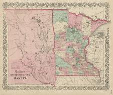 """Colton's Minnesota and Dakota"". Decorative antique state/territory map 1863"