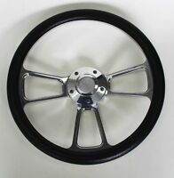 """60-69 Chevy Pick Up Truck Steering Wheel Black and Billet 14"""" Chevy Bowtie Cap"""
