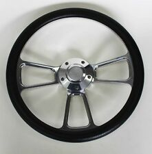 "60-69 Chevy Pick Up Truck Steering Wheel Black and Billet 14"" Chevy Bowtie Cap"