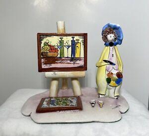Vintage Zampiva Ceramic Artist Figurine Porcelain Art Painter Signed Itsly