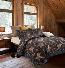 Primitive Black Brown Barn Star KING size Quilt Set Country Charm Rustic Bedding