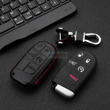 For Jeep Dodge Chrysle 5 Button Remote Key Fob Bag Holder Leather Car Cover Case