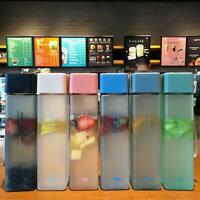 500ML Tea Drinking Plastic Water Camping Transparent Square Frosted  Bottle GIFT