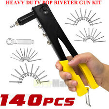 140Pcs Pop Riveter Gun Set Blind Rivet Hand Tool Kit Gutter Repair Heavy Duty US