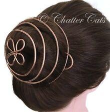 Hair Bun Cage Copper Celtic Clover Leaf Bun Holder Rose Gold Hair Bun Cuff
