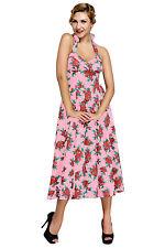 Abito Stampa Floreale Ballo Cocktail Cerimonia Top Floral Vintage Swing Dress S