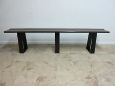 7.5 Foot Vintage Mid Century Solid Walnut Steel Floating Bench Seat Industrial