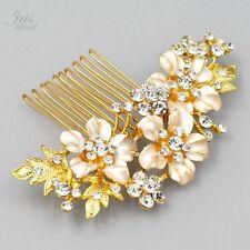 Bridal Hair Comb Crystal Headpiece Hair Clip Wedding Accessory 04920 Gold Flower