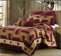 Country Burgundy Primitive Barn Star Printed Quilt Set Country Farmhouse Lodge